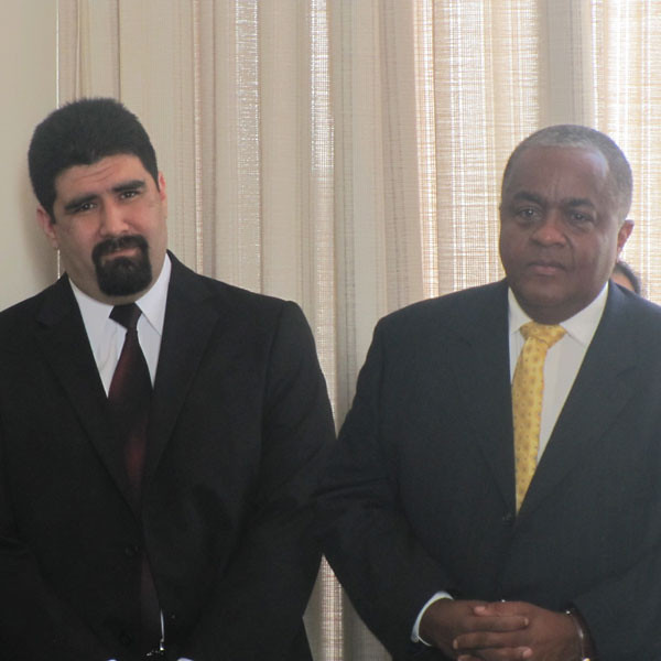 Left to right: STEM Division's Mario Raya and Dr. Bruce Jackson, Professor of Biotechnology
