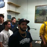MassBay students listening to the explanation of phase 1, the mosaic design process.
