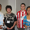 Laurentino Gomes, 21, Boston; Nick Dieher, 19, Natick; Ben Cartier, 18, Natick; Neha Jain, 19, Westborough display their robotics projects as part of MassBay's Summer Bridge program.