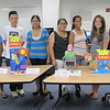 From right to left: Sophie Donohue, 18, Framingham; Jesse DiPersio, 17, Marlborough; Larianny Perez, 17, Framingham; Wendy Marroguin, 17, Framingham; Neha Jain, 19, Westborough; Timothy Chong, 18, Newton; Tolu Adebanjo, 18, Norwell display their robotics projects as part of MassBay's Summer Bridge program.