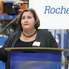 Paula Murphy with the Massachusetts Export Center addressed the crowd during the announcement of the export grant program today at Rocheleau Tool & Die Company in Fitchburg. SENTINEL & ENTERPRISE/JOHN LOVE