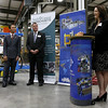 Cathy Rocheleau the President of  Rocheleau Tool & Die Company addressed the crowd during the announcement of the export grant program today at Rocheleau Tool & Die Company in Fitchburg. SENTINEL & ENTERPRISE/JOHN LOVE