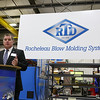 Mark Sullivan with the Massachusetts  Office of International Trade and Investment addressed the crowd during the announcement of the export grant program today at Rocheleau Tool & Die Company in Fitchburg. SENTINEL & ENTERPRISE/JOHN LOVE