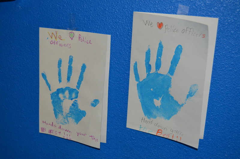 Cards made by children show their appreciation for police officers.
