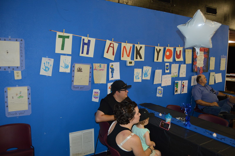 A wall inside the venue was decorated with letters, drawings and cards done by area children thanking law enforcement for their service.