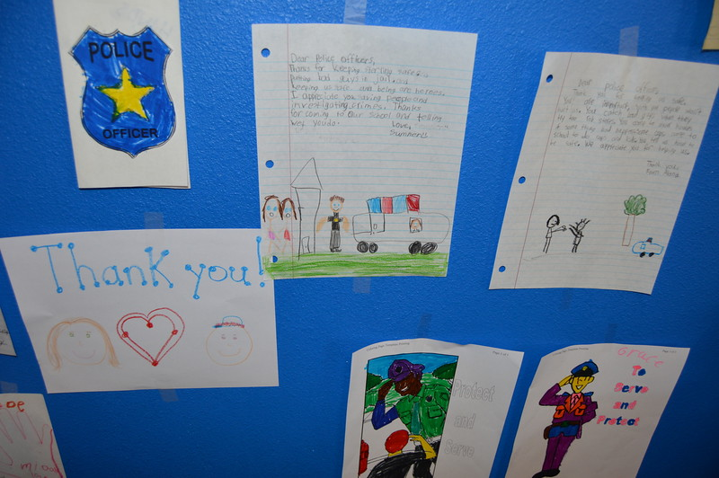Letters and art work express thanks from local children.
