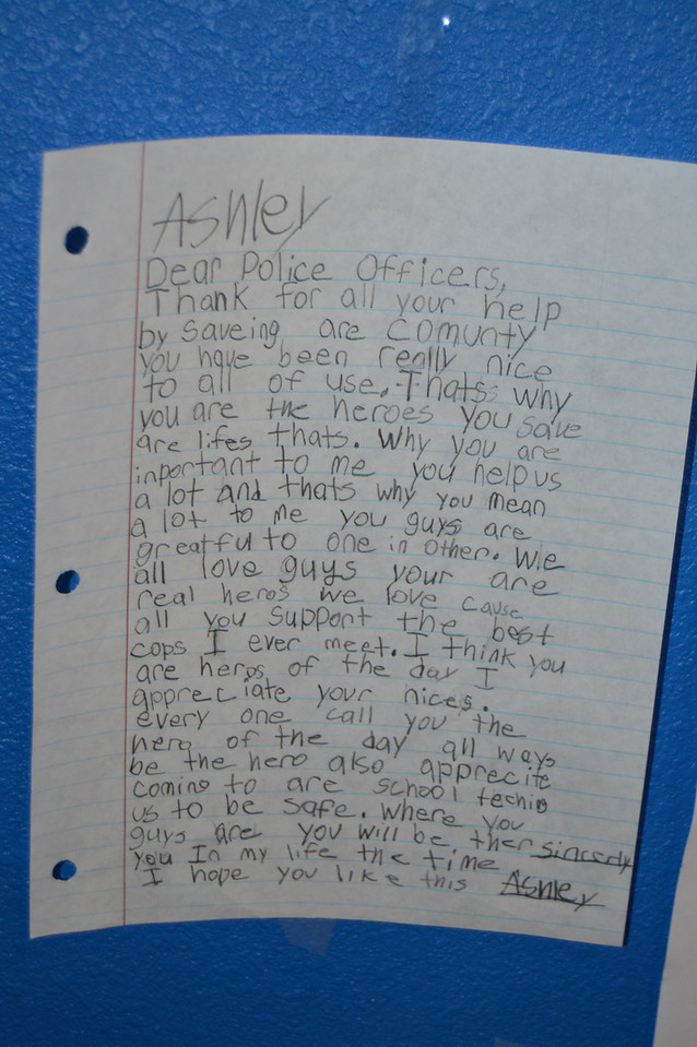One of the letters written by children thanking law enforcement that was on display during the event.