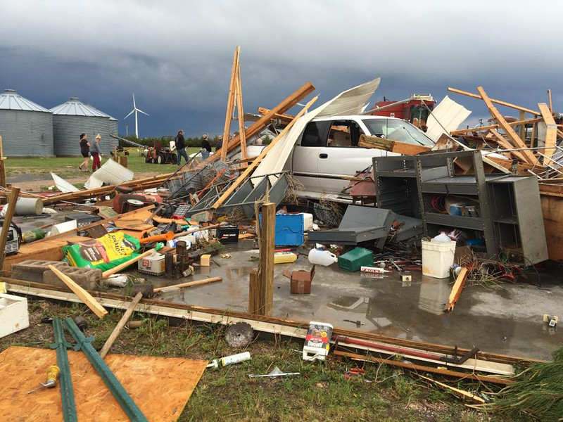 Brandee Gillham photo of damage caused by the tornado near Peetz