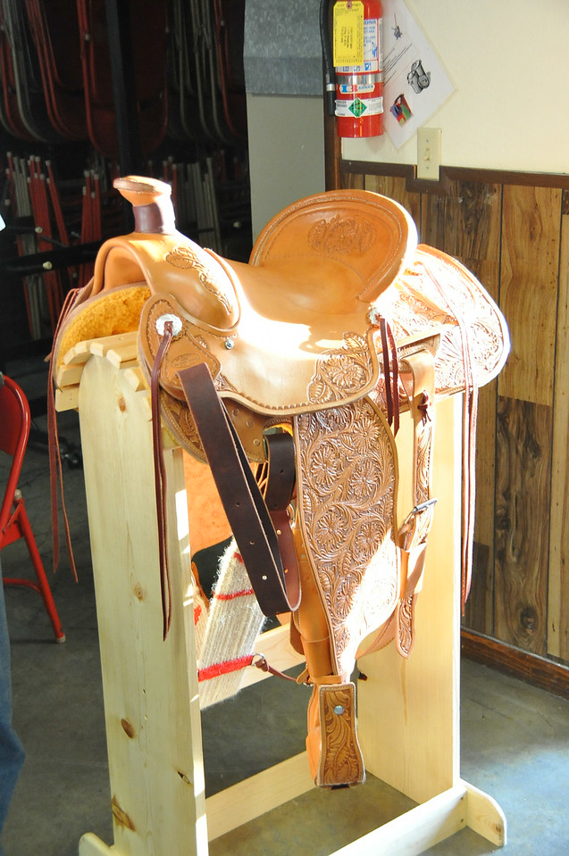 The saddle that the Logan County Fair Board is raffling off during the fair was on display at the Superintendents Barbecue.