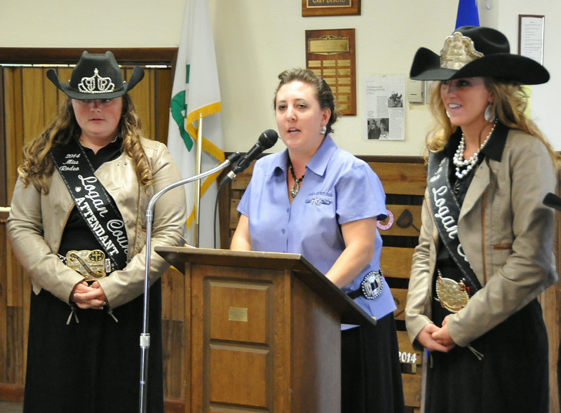 Royalty program coordinator Brandee Gillham (center) speaks about the Miss Rodeo Logan County contest at the Superintendents Barbecue. With her are Miss Rodeo Logan County Attendant Bobbi Jo Lingreen (left) and Miss Rodeo Logan County Regan Wheeler.