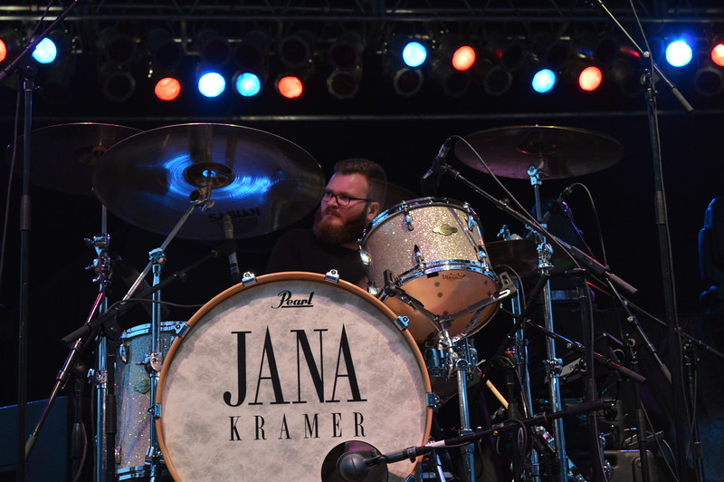 Jana Kramer's drummer keeps the beat during the night show at the Logan County Fairgrounds on Saturday.