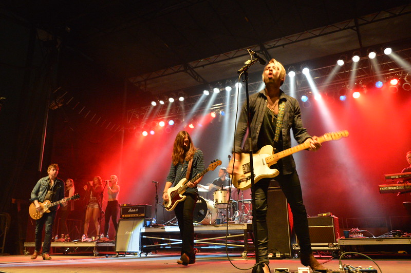 A Thousand Horses headlined the night show August 6 at the Logan County Fairgrounds. From left are guitarist Bill Satcher, bassist Graham Deloach and guitarist/vocalist Zach Brown.