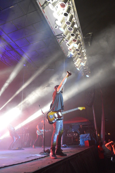 Canaan Smith gets the crowd involved in a sing-along during the Logan County Fair night show Saturday, Aug. 6.