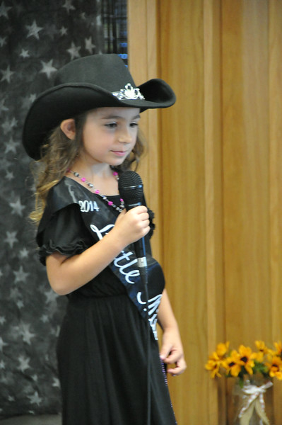 2014 Little Miss Alexis Gentry gives her introduction during the 2014 Logan County Royalty Contest Saturday, Aug. 2, 2014.
