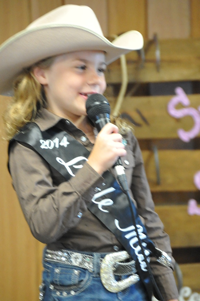 Brookelyn Handke, 2014 Little Miss, gives her introduction during the 2014 Logan County Royalty Contest Saturday, Aug. 2, 2014.