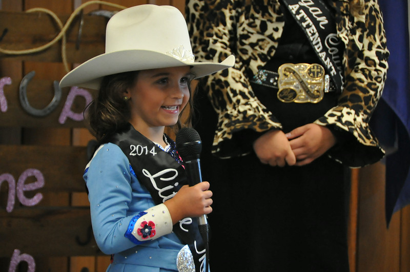 2014 Little Miss Hayden Walker gives her introduction during the 2014 Logan County Royalty Contest Saturday, Aug. 2, 2014.