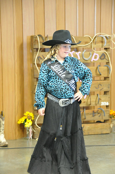Ashlyn Schmidt, 2014 Little Miss, modeling during the 2014 Logan County Royalty Contest Saturday, Aug. 2, 2014.