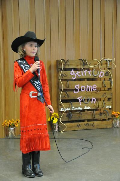 Little Miss Emma Breidenbach during the 2014 Logan County Royalty Contest Saturday, Aug. 2, 2014.