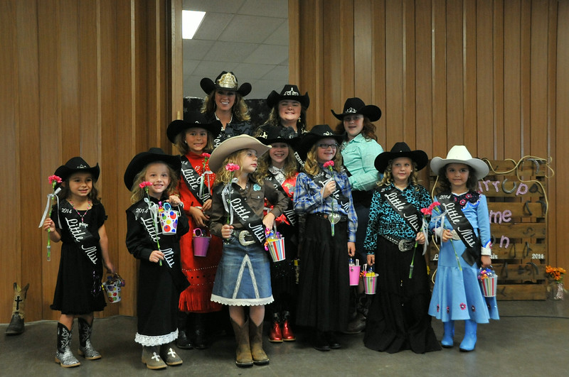 The 2014 Logan County Fair rodeo royalty, front row from left: Alexis Gentry, Crystal Horner, Brookelyn Handkey, Molly Mitchell, Ashlyn Schmidt, Hayden Walker; 2nd row, Emma Breidenbach, Tobi-Beth Erickson, Natali Boerner; back row, Miss Rodeo Logan County Regan Wheeler, MRLC Attendant Bobbi Jo Lingreen