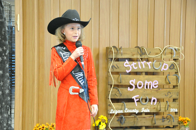 Little Miss Emma Breidenbach gives her introduction during the 2014 Logan County Royalty Contest Saturday, Aug. 2, 2014.