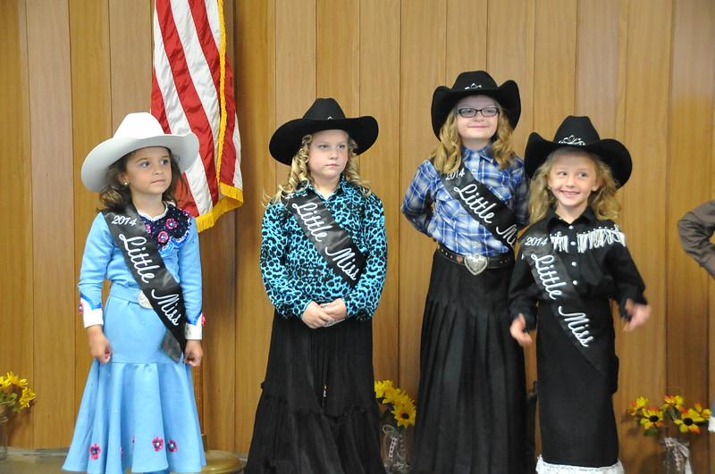 Little Misses Hayden Walker, Ashlyn Schmidt, Molly Mitchell and Crystal Horner during the 2014 Logan County Royalty Contest Saturday, Aug. 2, 2014.