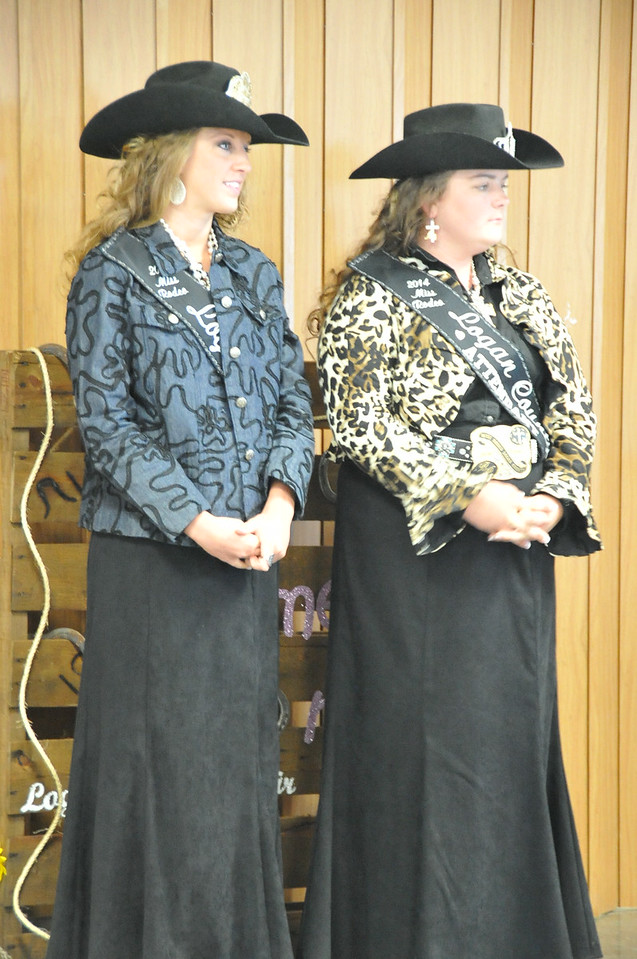 Miss Rodeo Logan County Regan Wheeler and MRLC Attendent Bobbi Jo Lingreen at the Logan County Royalty Contest Saturday, Aug. 2, 2014.