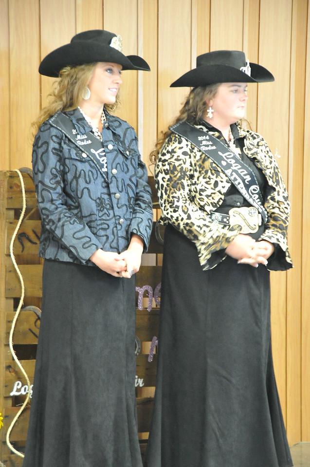 Miss Rodeo Logan County Regan Wheeler and MRLC Attendent Bobbi Jo Lingreen at the Logan County Royalty Contest Saturday, Aug. 2, 2014.
