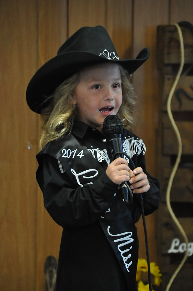 2014 Little Miss Crystal Horner gives her introduction during the 2014 Logan County Royalty Contest Saturday, Aug. 2, 2014.