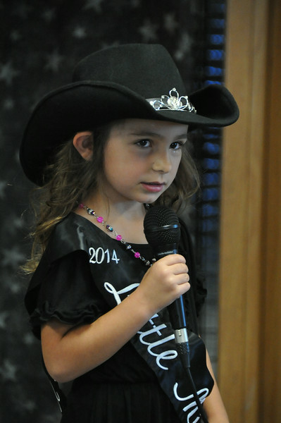 Alexis Gentry, 2014 Little Miss, gives her introduction during the  2014 Logan County Royalty Contest Saturday, Aug. 2, 2014.