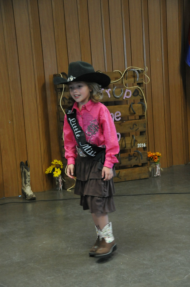 Little Miss Ayla Baney models during the 2014 Logan County Royalty Contest Saturday, Aug. 2, 2014.