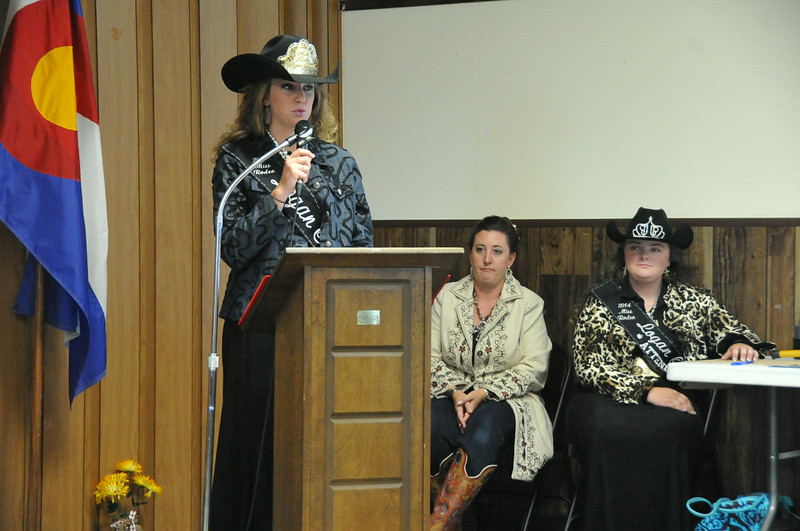 Miss Rodeo Logan County Regan Wheeler thanks her sponsors during the 2014 Logan County Royalty Contest Saturday, Aug. 2, 2014.