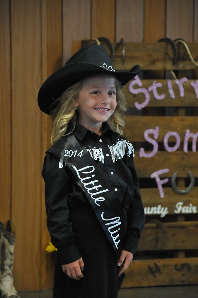 Crystal Horner, 2014 Little Miss, modeling during the 2014 Logan County Royalty Contest Saturday, Aug. 2, 2014.