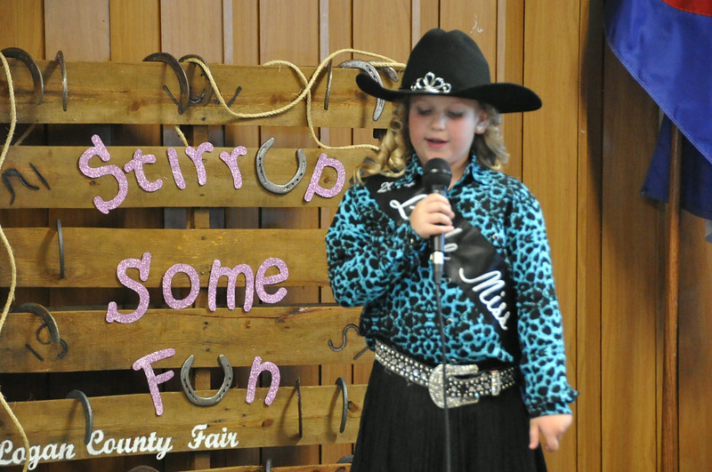 2014 Little Miss Ashlyn Schmidt gives her introduction during the 2014 Logan County Royalty Contest Saturday, Aug. 2, 2014.