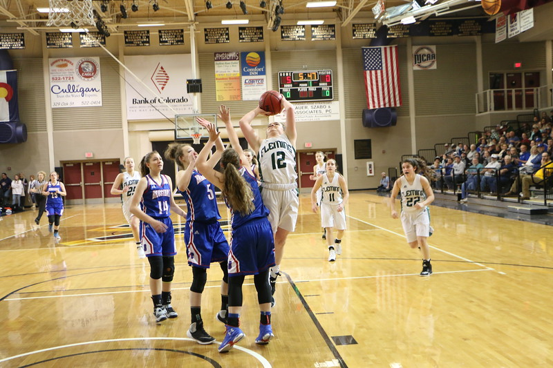 Jenna Lengfelder shoots in the Fleming Lady Wildcats semifinal game against Briggsdale. Fleming won 60-39. (Melanie Kindvall/Courtesy photo)