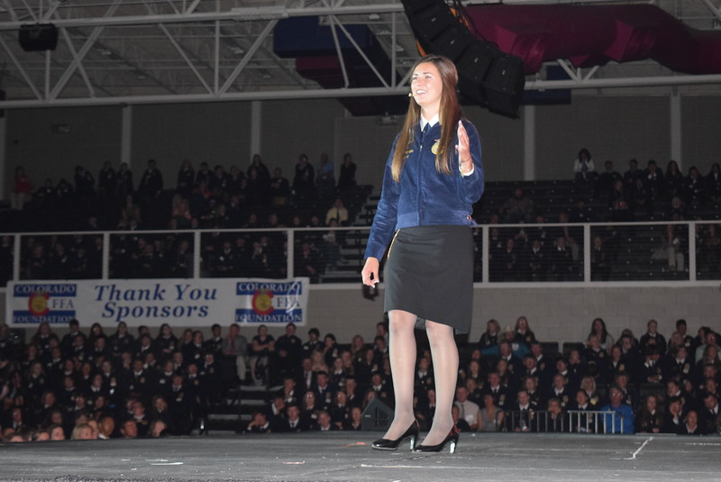 Whitney Mount, state FFA executive committee member, from Brush, gives her retiring remarks at the opening session of the 88th Annual Colorado FFA State Convention Tuesday, June 7, 2016.