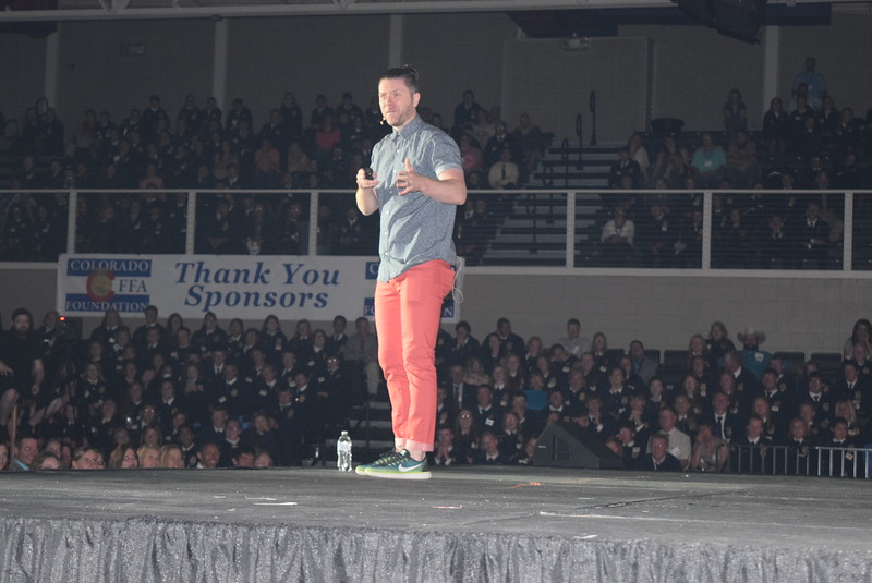 Opening session keynote speaker Ryan Porter talks to students about taking action to change things instead of complaining about them during the 88th Annual Colorado FFA State Convention Tuesday, June 7, 2016.
