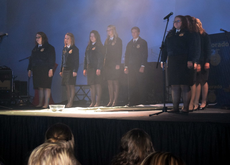 State FFA Officers start the opening session of the 88th Annual Colorado FFA State Convention Tuesday, June 7, 2016.