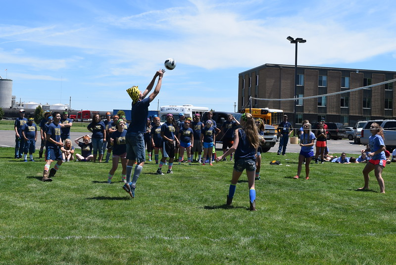 An FFA member reaches to connect with the ball during a volleyball tournament Tuesday, June 7, 2016. The tournament served as the kickoff for the 88th annual State FFA Convention, which is being held at Northeastern Junior College.