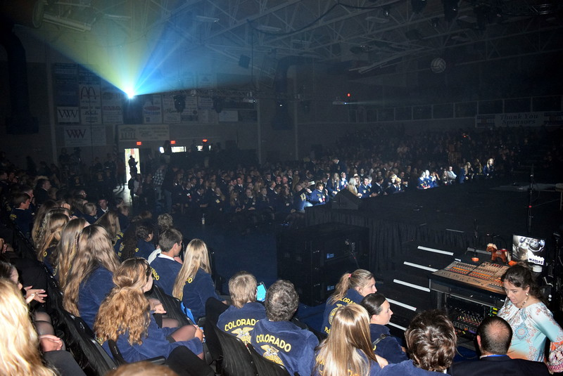 FFA members wait for the opening session to start at the 88th Annual Colorado FFA State Convention Tuesday, June 7, 2016. Approximately 1,394 FFA memebrs and guests attended the first session of the three-day convention.