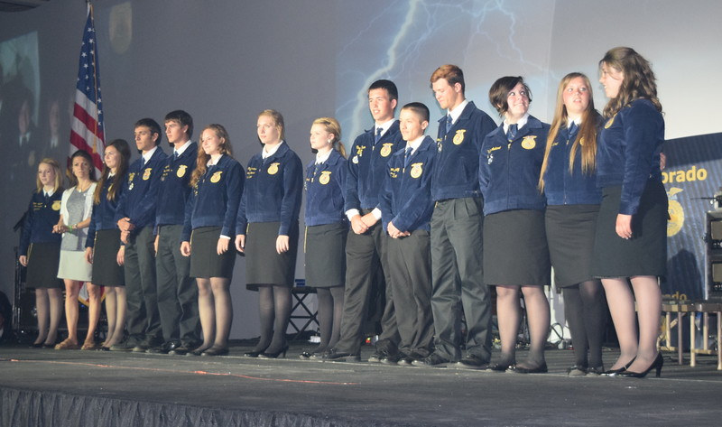 National FFA Scholarship recipients are recognized during the opening session of the 88th Annual Colorado FFA State Convention Tuesday, June 7, 2016.