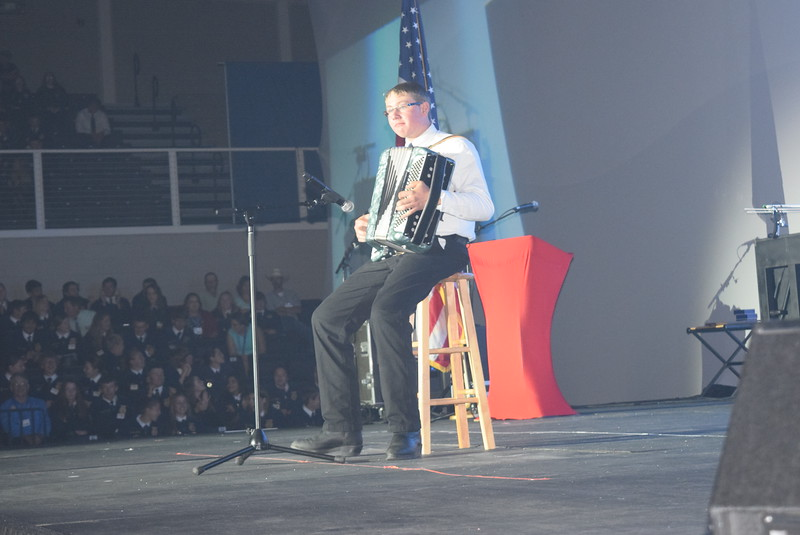 Adam Davis, of the Peetz FFA chapter, plays his accordion during the opening session of the 88th Annual Colorado FFA State Convention Tuesday, June 7, 2016.