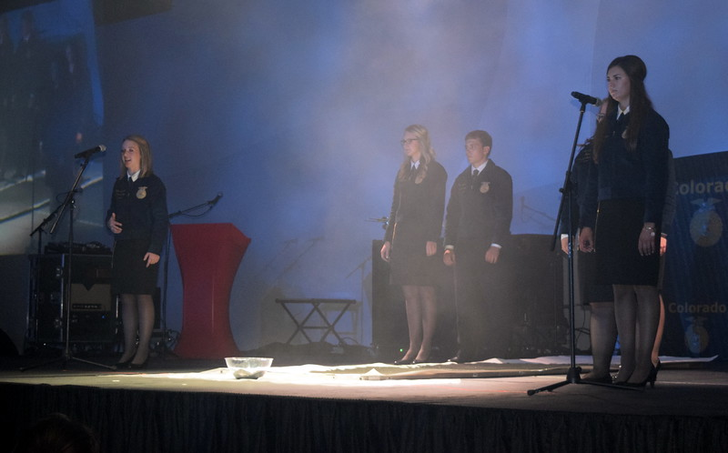 State FFA Officers Rayna Hodgson, vice president, left, and Whitney Mount speak during the opening session of the 88th Annual Colorado FFA State Convention Tuesday, June 7, 2016.
