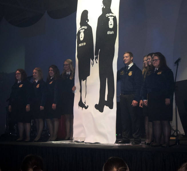 State FFA Officers encourage FFA members to intensify during the opening session of the 88th Annual Colorado FFA State Convention Tuesday, June 7, 2016.