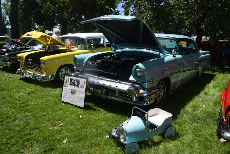 A 1956 Mercury Monterey, owned by Richard and Mary Degenhart, of Sterling, and its mini companion, were among the vehicles on display at Colorado Flatlanders 25th Annual Rod Run in the Park Saturday, July 9, 2016, at Pioneer Park.