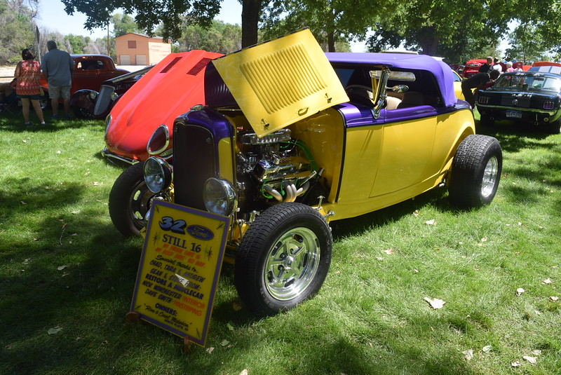 A 1932 Ford Roadster, owned by Ron and Carol Mahnken, of North Platte, Neb., was among the vehicles on display at Colorado Flatlanders 25th Annual Rod Run in the Park Saturday, July 9, 2016, at Pioneer Park.