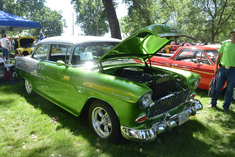 A 1955 Chevy, owned by Chad and Tara Mahnken, of North Platte, Neb., was among the vehicles on display at Colorado Flatlanders 25th Annual Rod Run in the Park Saturday, July 9, 2016, at Pioneer Park.