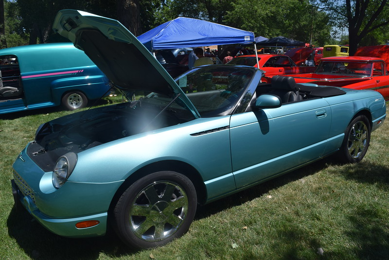 A 2002 Ford Thunderbird, owned by Ron Meyer, of Sidney, Neb., was among the vehicles on display at Colorado Flatlanders 25th Annual Rod Run in the Park Saturday, July 9, 2016, at Pioneer Park.