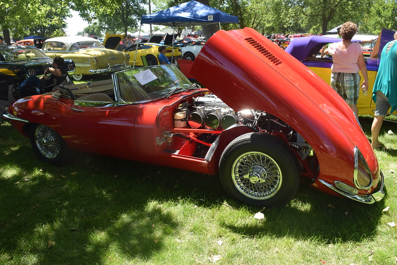 A 1966 Jaguar XKE, owned by Larry Jackson, of Sterling, was among the vehicles on display at Colorado Flatlanders 25th Annual Rod Run in the Park Saturday, July 9, 2016, at Pioneer Park.