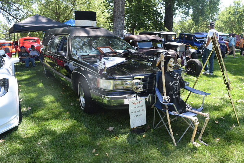A 1994 Cadillac Hearse, owned by Karl and Anna Newton, of Lochbuie, was among the vehicles on display at Colorado Flatlanders 25th Annual Rod Run in the Park Saturday, July 9, 2016, at Pioneer Park.