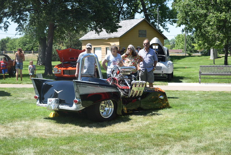 Guests look over Granny's Nike Trike at at Colorado Flatlanders 25th Annual Rod Run in the Park Saturday, July 9, 2016, at Pioneer Park.